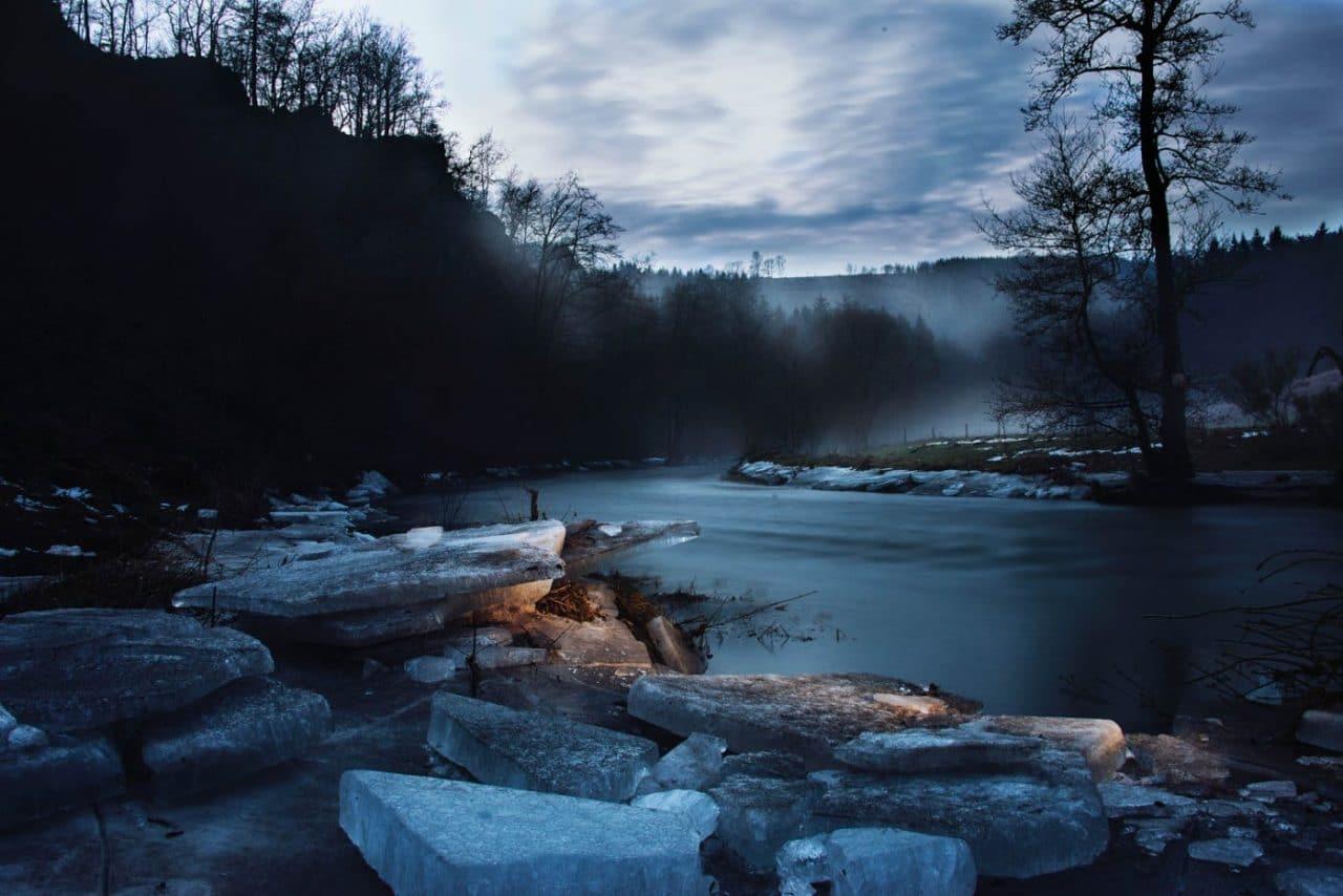 Travel Photography By Anastasia Vervueren Belgium Rensiwez Woods River Winter Ice