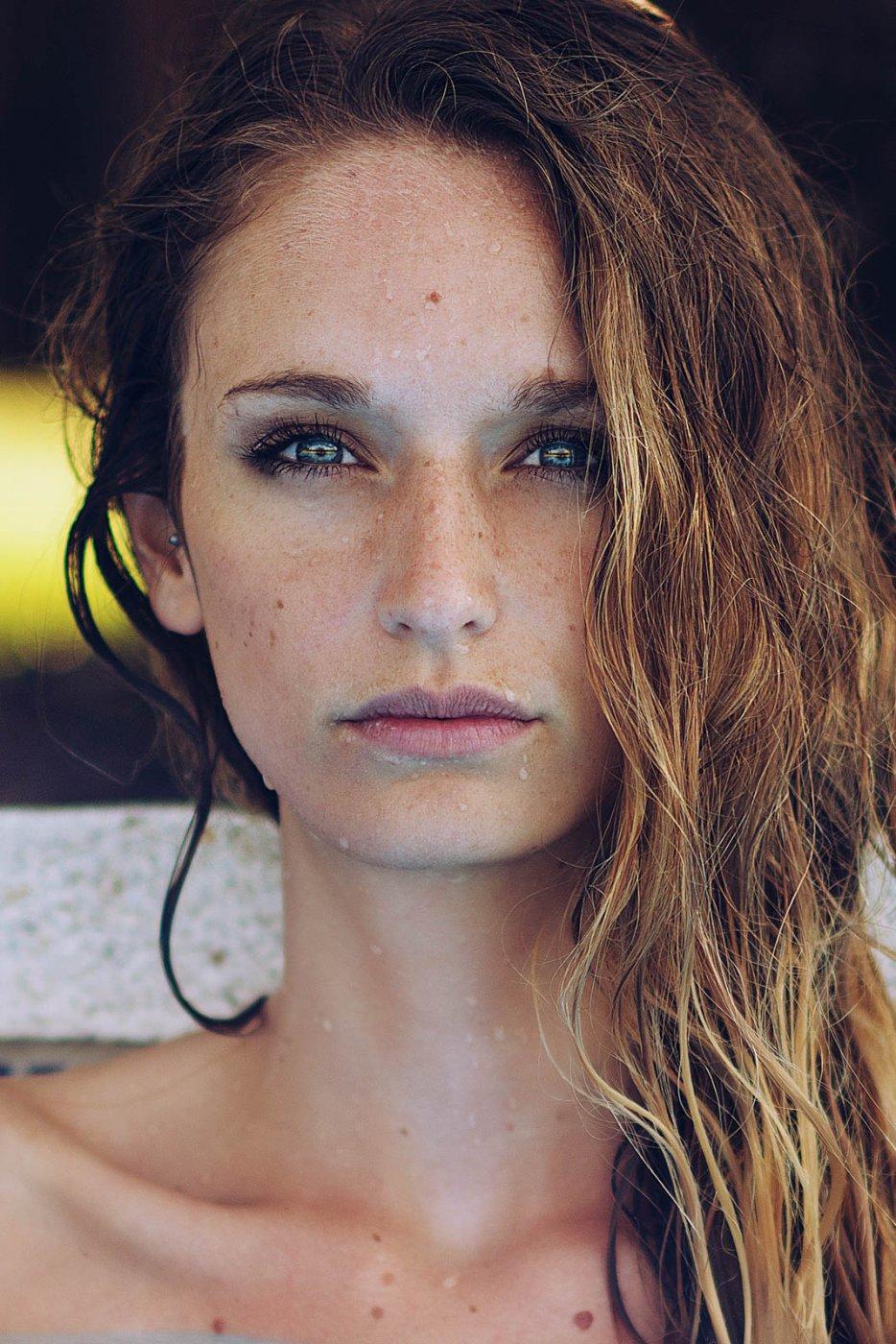 Portrait Photography By Anastasia Vervueren Pool Summer Spain Blue Eyes