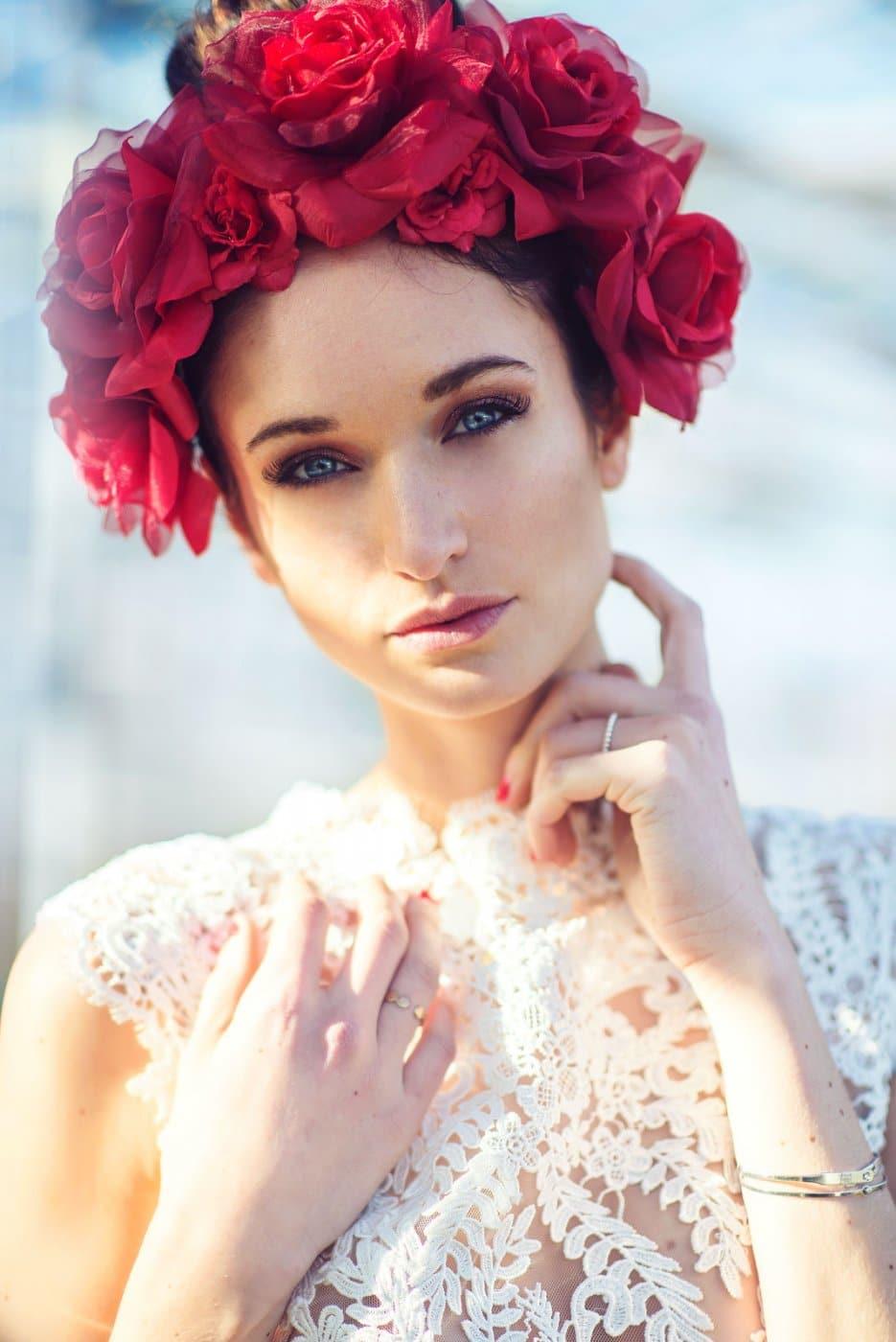 Portrait Photography By Anastasia Vervueren Headdress Flowers